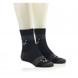 Modne nogavice - črne s sivimi črtami in mačko