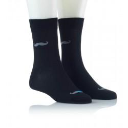 Modne nogavice - temno modre s sivimi brki