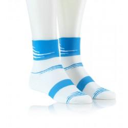 Specialne kolesarske nogavice - bele z modrim vzorcem