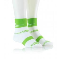 Specialne kolesarske nogavice - bele z zelenim vzorcem