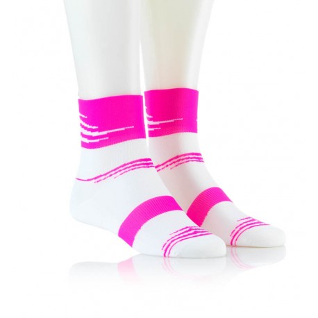 Specialne kolesarske nogavice belo roza