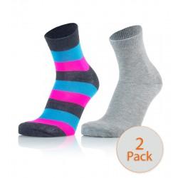 Otroške modne nogavice - črtaste (modro-pinki) in svetlo sive