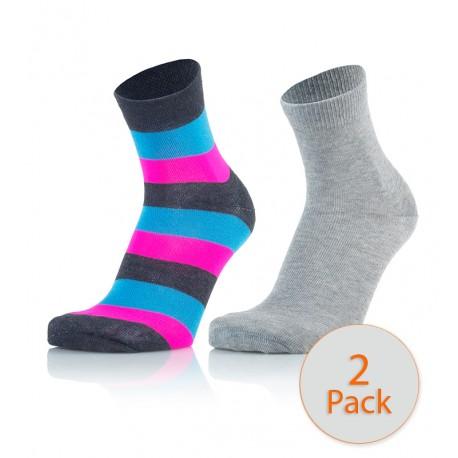 Otroške modne nogavice - črte antracit zelena