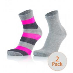 Otroške modne nogavice - črte sv.sive modre