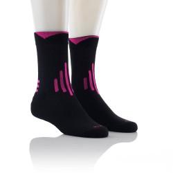 Športne nogavice - Multisport (črne z pink črtami)