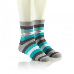 Modne nogavice - sivo-modre z rožico