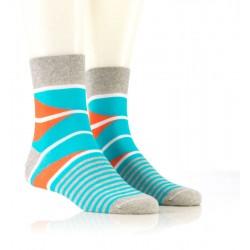 Modne nogavice - sive z turkizno-oranžnim vzorcem
